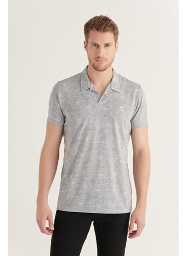 Avva AVVA Erkek Gri Apaş Yaka Jakarlı T-Shirt A11Y1165 Gri